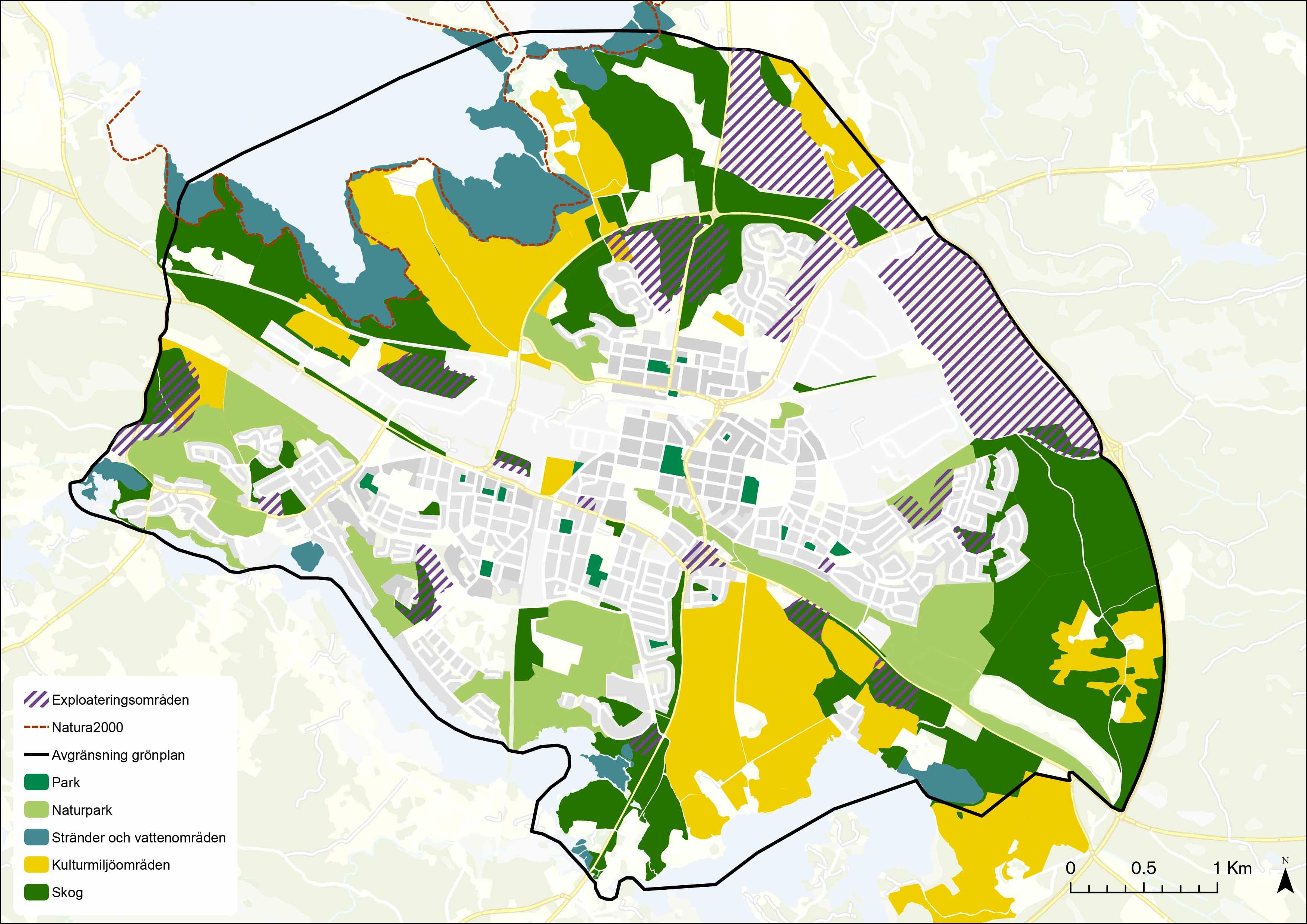 Karta över grönplanen för Katrineholm.