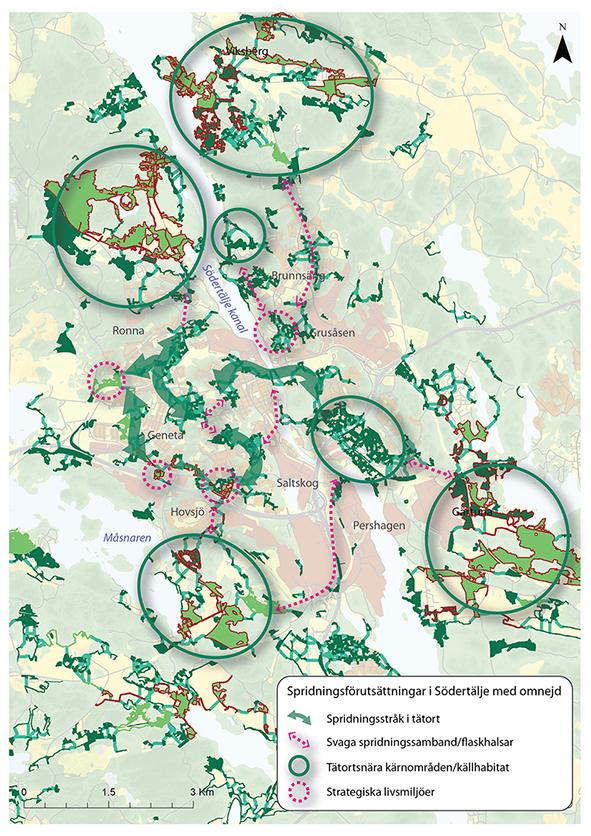 Karta över spridningsmiljöer för pollinerande insekter
